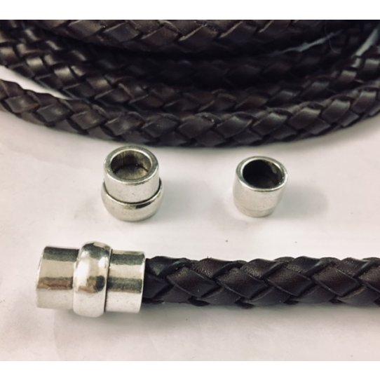 Fermoir aimanté tube en étain pour cuir rond 8mm