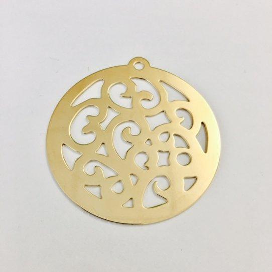 Grand pendant Arabesque en laiton doré à l'or fin 24 carat