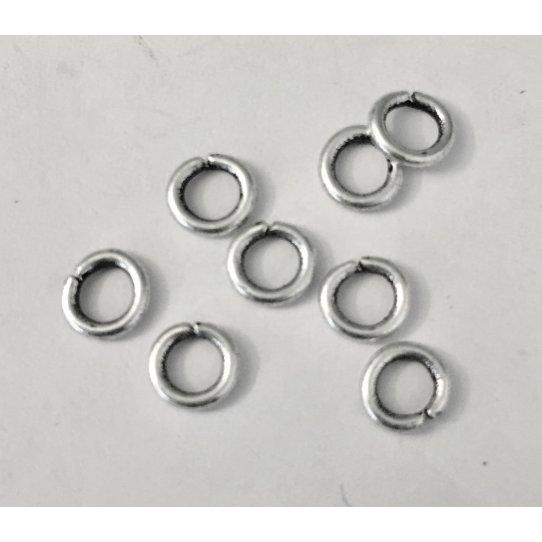 100 petits anneaux en laiton plaqué argent 5mm