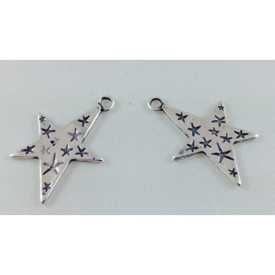 15 Pendants  étoile avec des petites étoiles incrustées double face