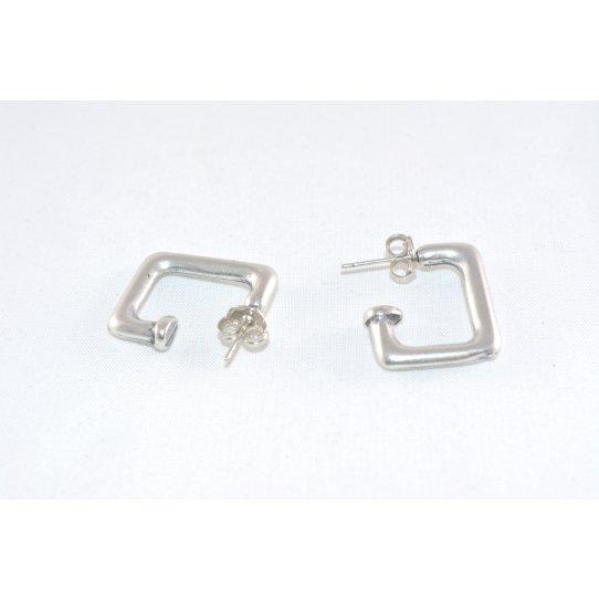 Boucles d'oreille demi- créole plaqué argent carré