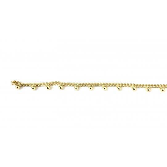 Chaine en laiton avec perles doré à l'or fin