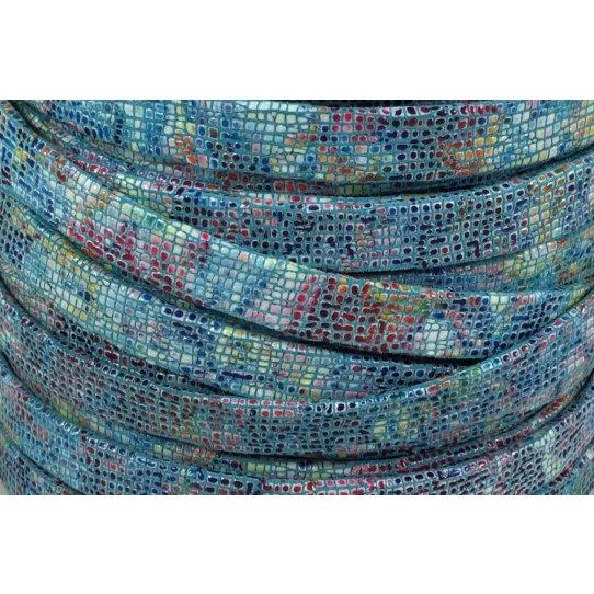 Cuir exclusivité Idil 10mm mosaique Turquoise