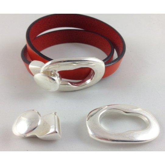 Fermoir boucle pour cuir plat 10mm
