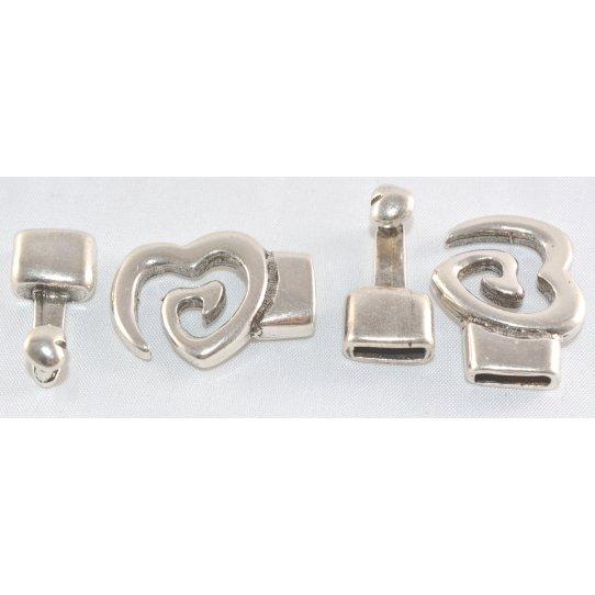 Fermoir Crochet en forme de coeur pour cuir 10 mm
