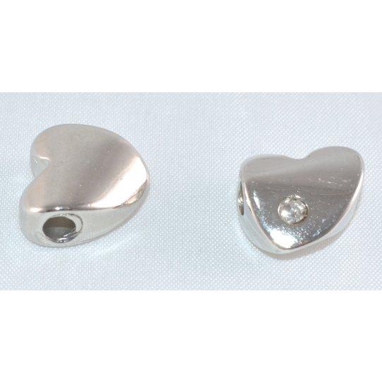 Passant coeur avec strass pour 3mm cuir rond