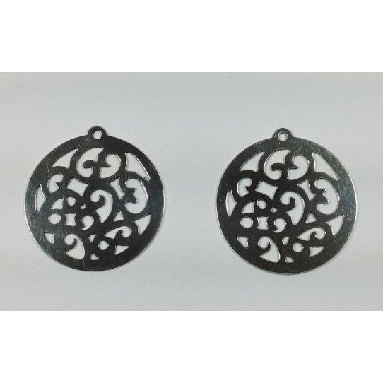 Pendant en laiton motif Arabesque plaqué 10 microns Fabrication Française