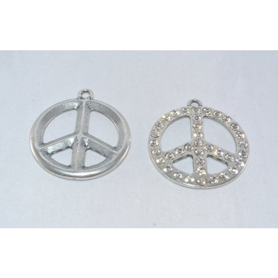 Pendant peace & love avec strass