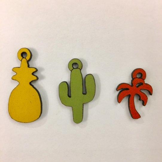Pendants exotiques-cactus-palmier-ananas en CUIR
