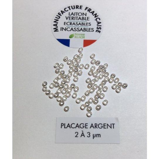 perles à écraser parisiennes n°9 plaquées argent-FABRICATION FRANCAISE