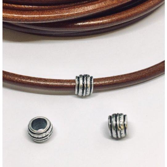 Perles striées pour cuir rond 5mm