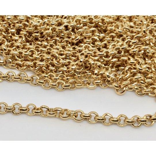 Petite chaine jeseron en laiton doré à l'or fin 3.4mm