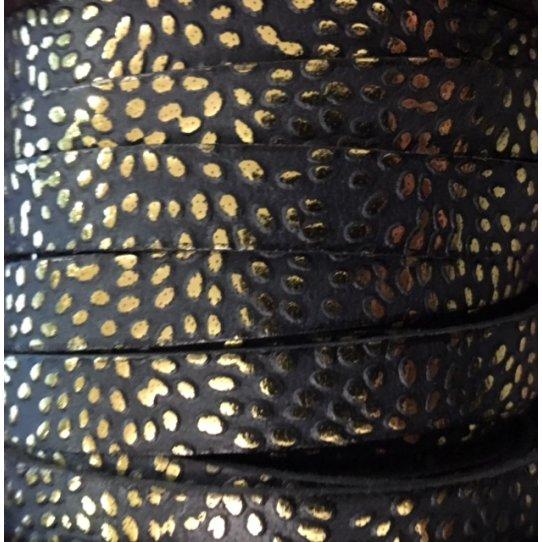 Cuir de veau 10mm tons noirs avec motifs