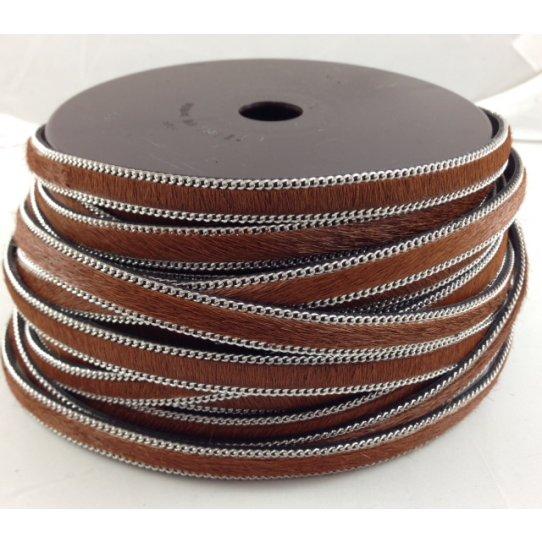 Cuir de veau avec motif  ou unis avec chaine  10mm