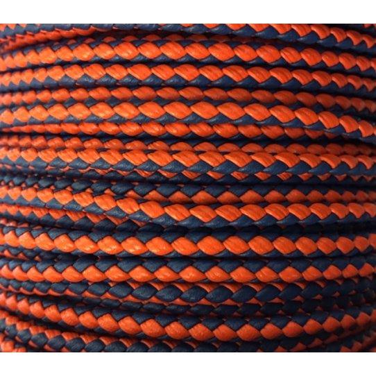 Cuir tressé rond 3mm en bicolore-nouvelles couleurs
