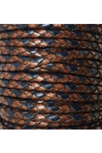 cuir tressé rond 4mm bi-colore