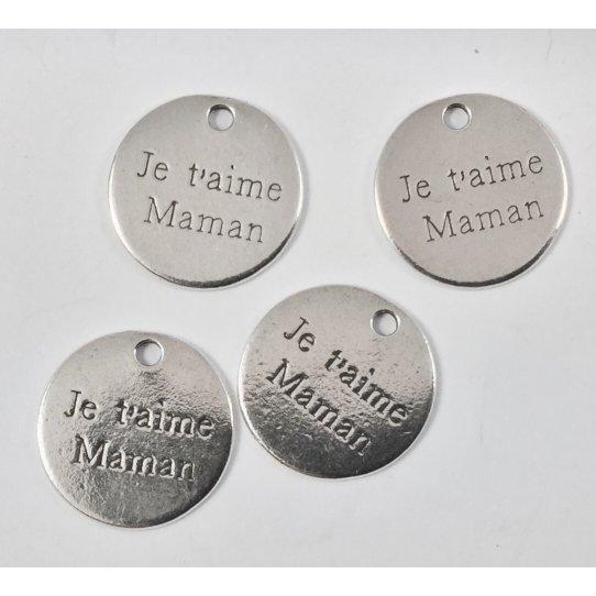 5 pcs Je t aime maman Pendant Etain Fabrication Française plaqué 10 microns