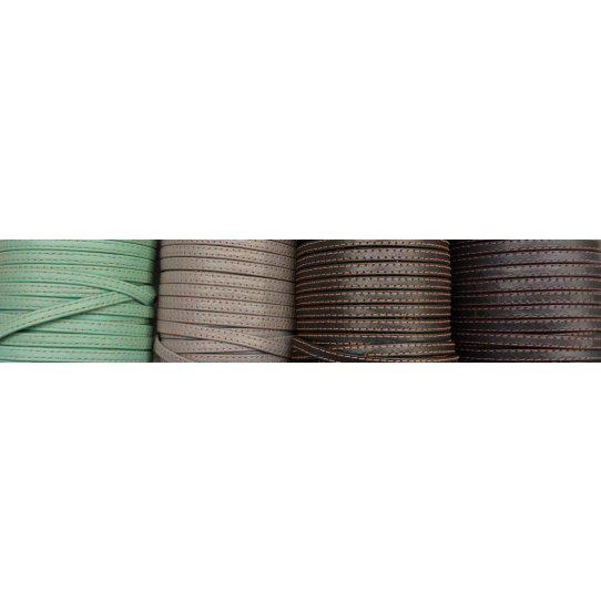 Cuir de vachette double couture 5mm souple couture couleur différente