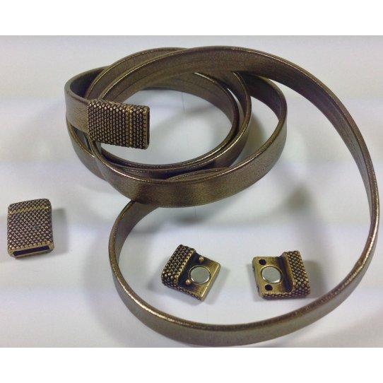 Fermoir aimant� en �tain pour cuir 10mm diamant�