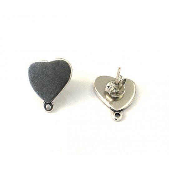 B.O à clous en forme de cœur, 13.3 x 15.2mm