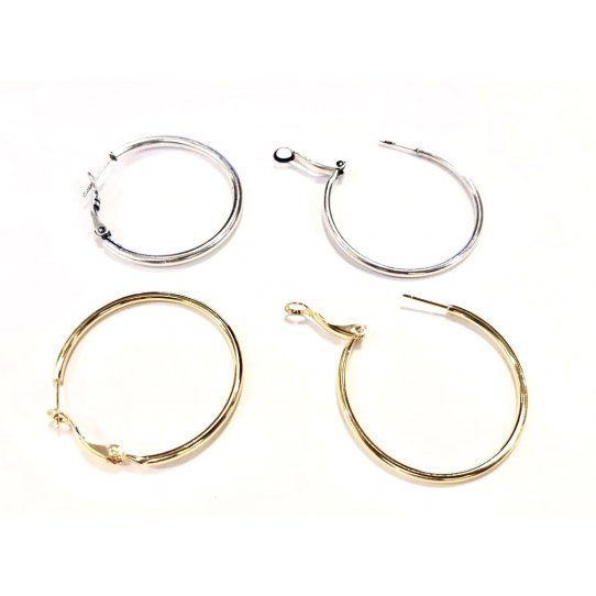 Boucles d'oreille créole en laiton plaqué argent ou doré