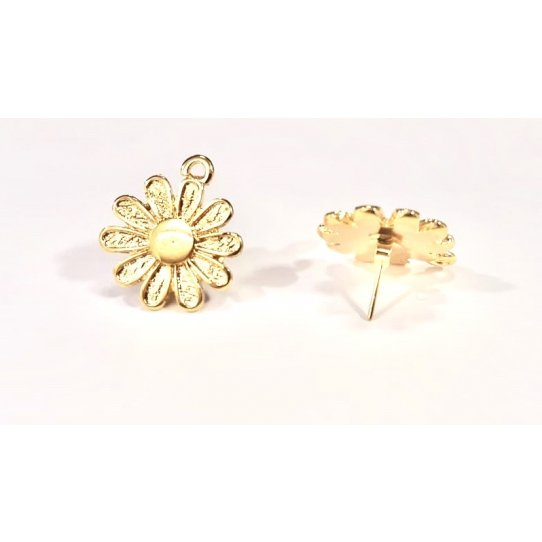 Boucles d'oreilles à clous en forme de fleur dorées