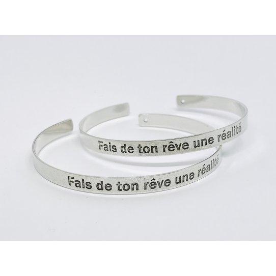 Fais de ton rêve une réalité, bracelet laiton plaque argent 10 microns en France