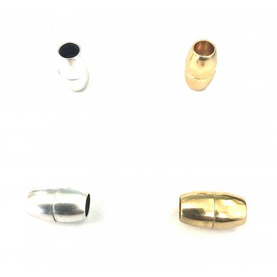 Fermoir aimanté en laiton 6mm rond, argent ou or
