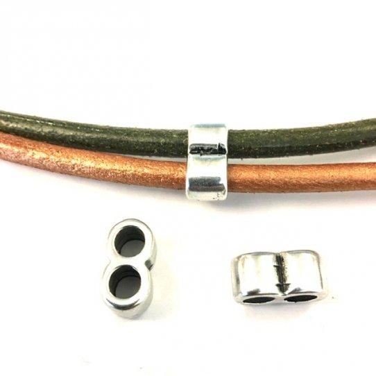 intercalaire double tube pour lanière ou cuir jusqu'à 5mm.