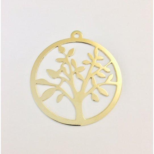 Pendant arbre de vie doré à l'or fin 24 carat