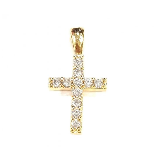 Pendant croix en laiton avec strass