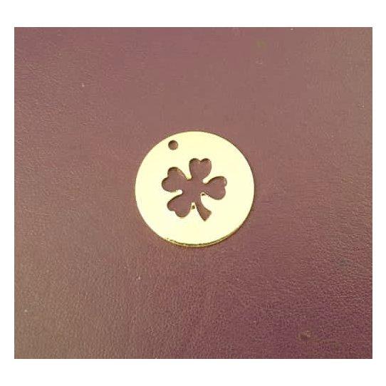 Pendant laiton ,médaillon avec trèfle à 4 feuilles en doré