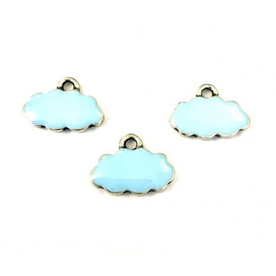 Pendant nuage émaillé bleu ciel 18.5 x 10.3 mm