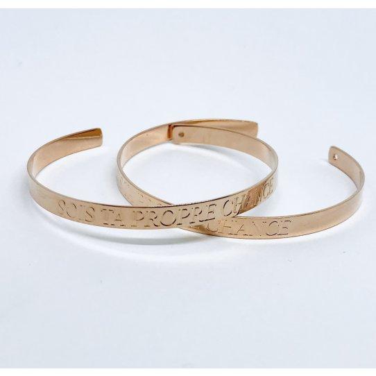 SOIS TA PROPRE CHANCE, bracelet laiton,doré à l'or rose 24 carat en FRANCE